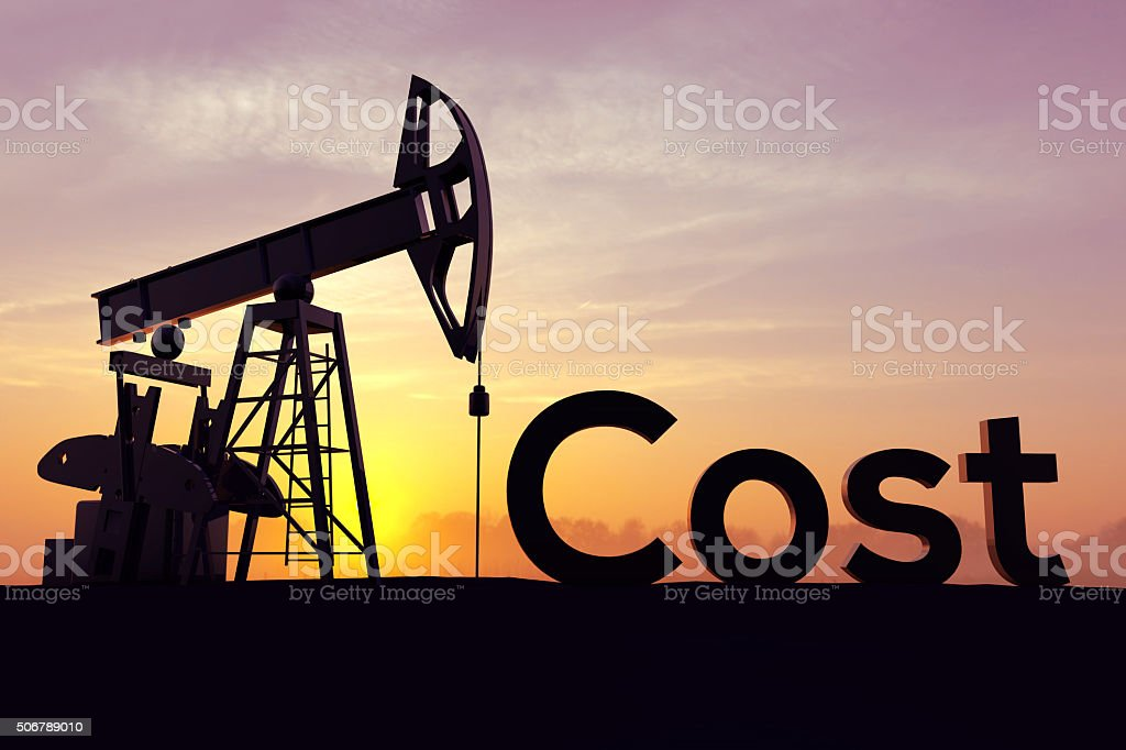 Oil pump with the word cost stock photo