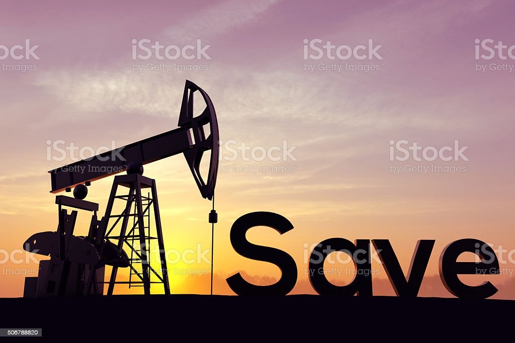 Oil pump with the word Save stock photo
