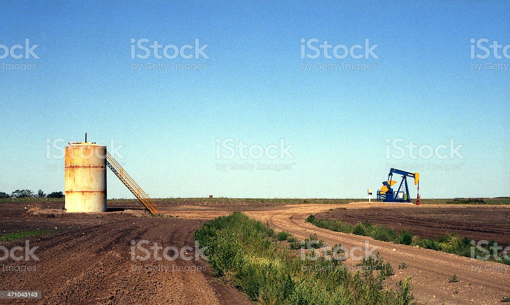 Oil pumpjack and tank royalty-free stock photo