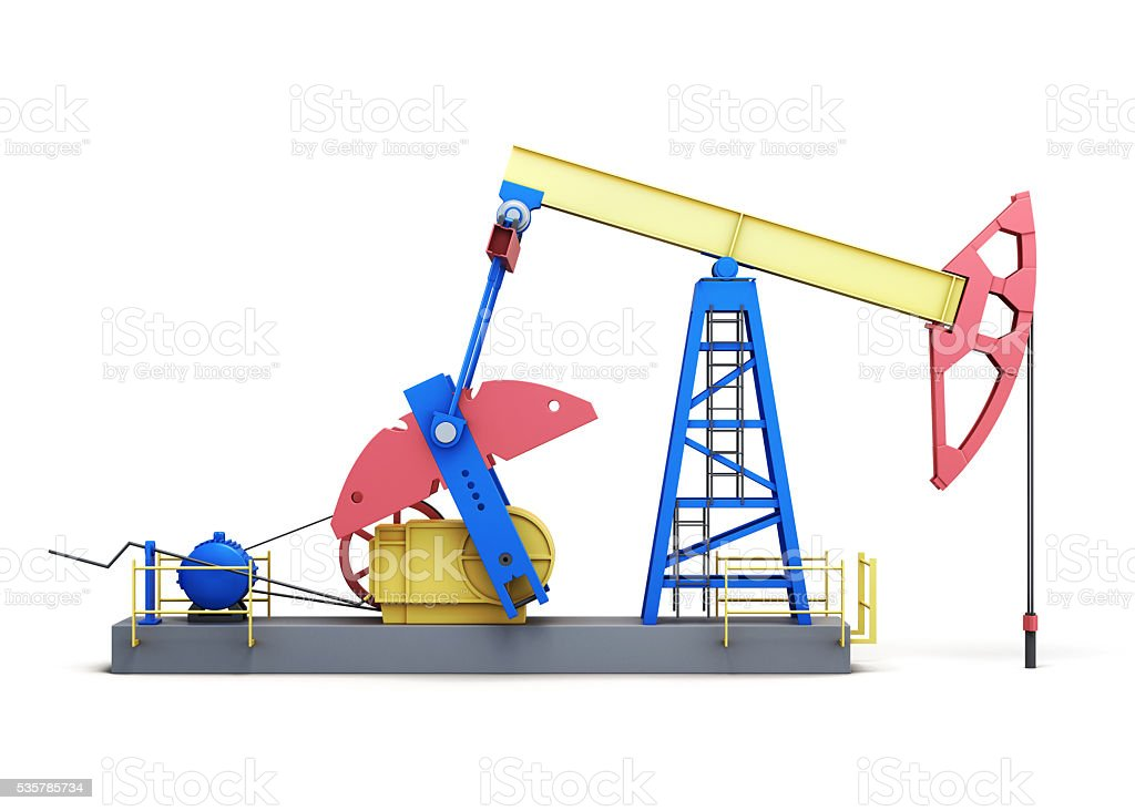 Oil pump-jack isolated on white background. Side view. 3d render stock photo