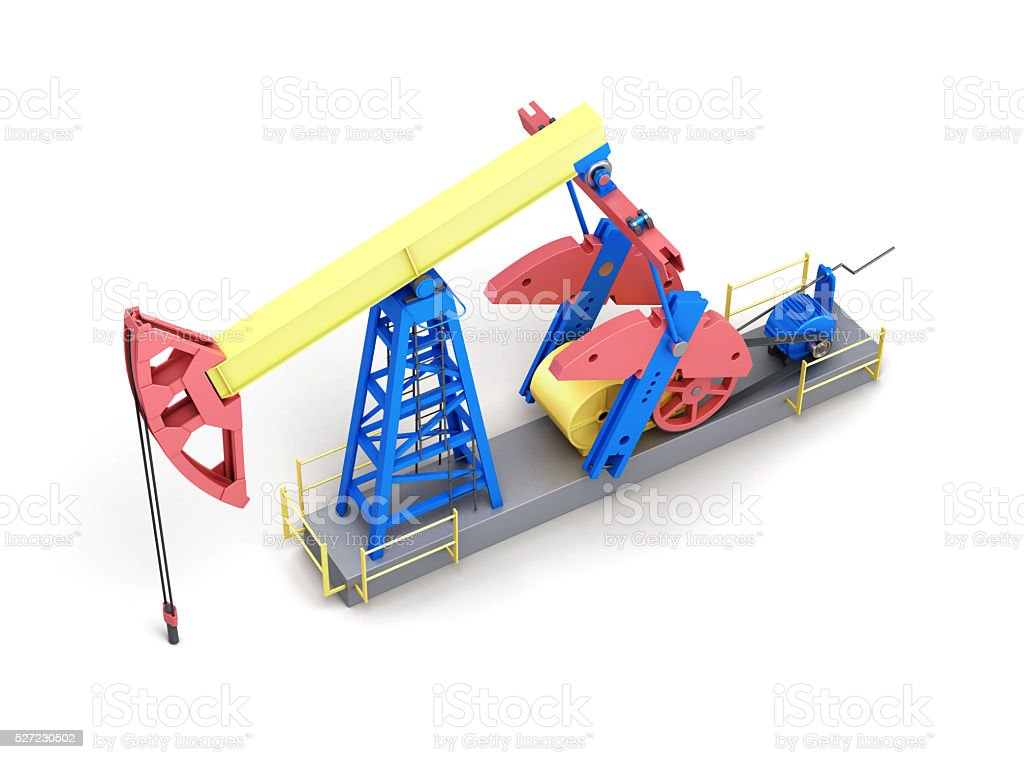 Oil pump-jack isolated on white background. Top view. 3d renderi stock photo