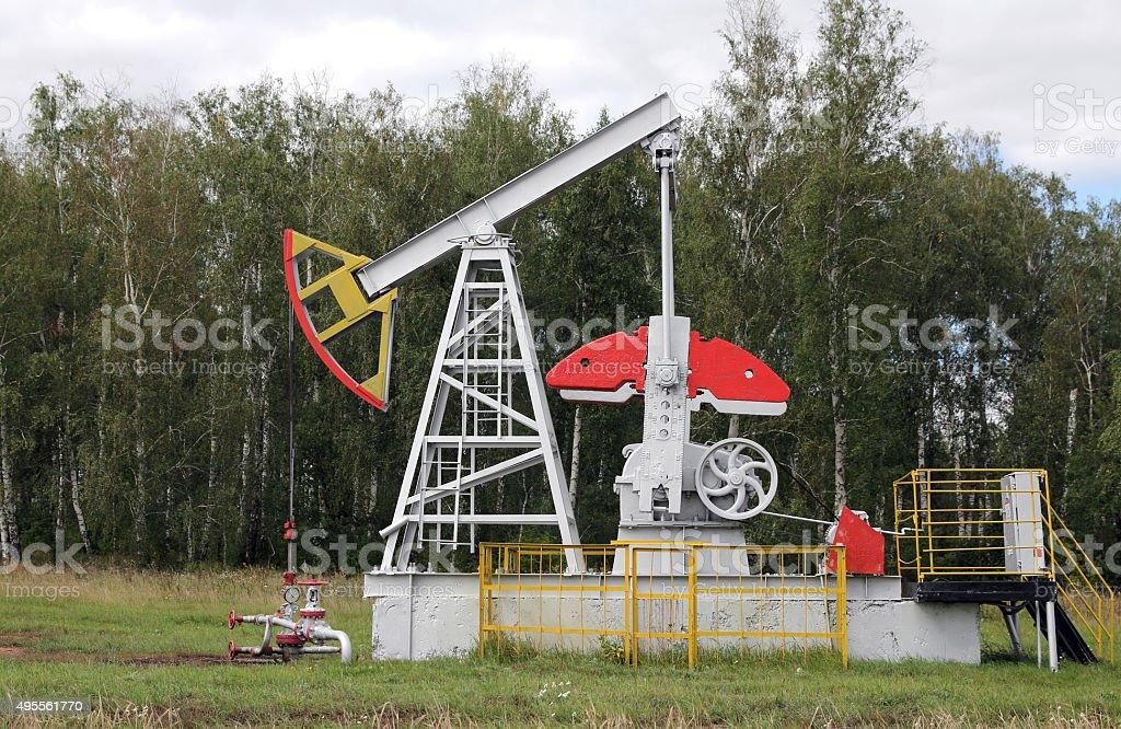 Oil pumpjack. Oil industry equipment. stock photo