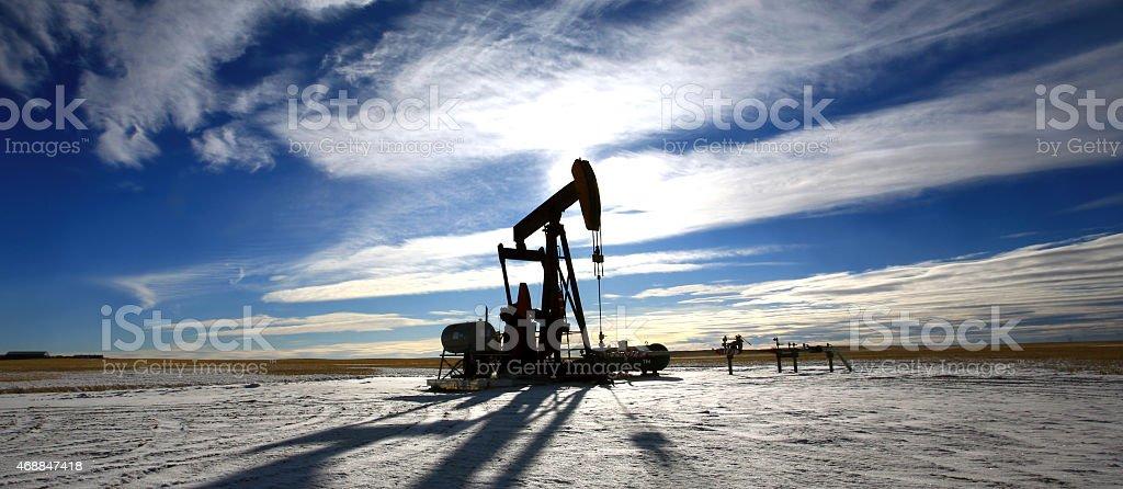 Oil Pumpjack Panorama in Alberta Canada stock photo