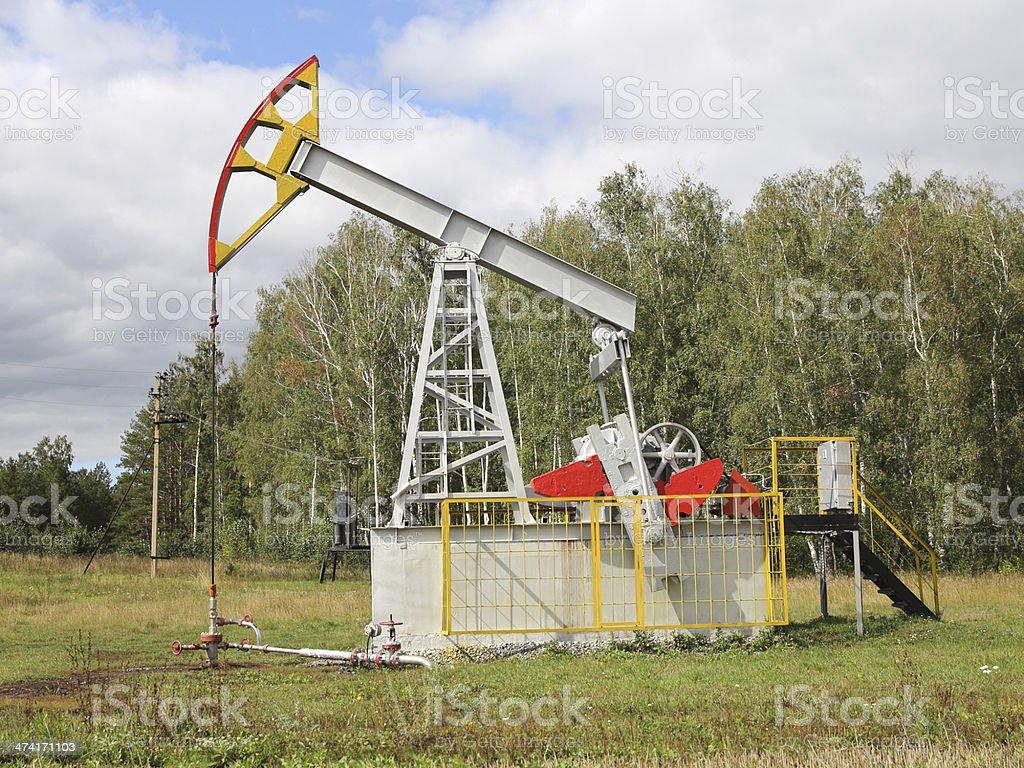 Oil pumpjack. stock photo