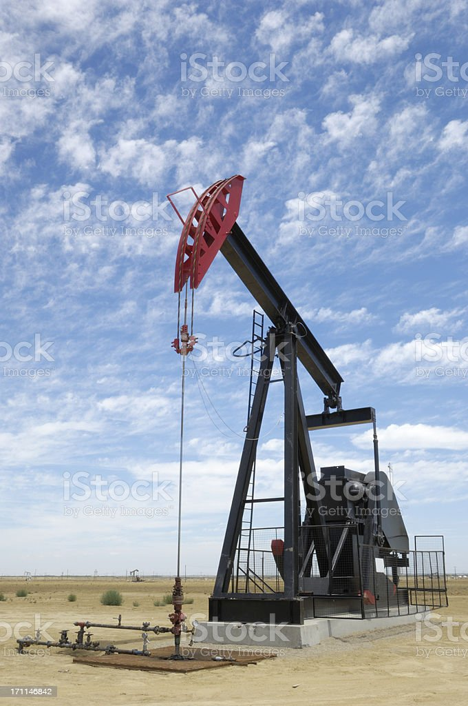 Oil Pumpjack with Clouds in Background royalty-free stock photo