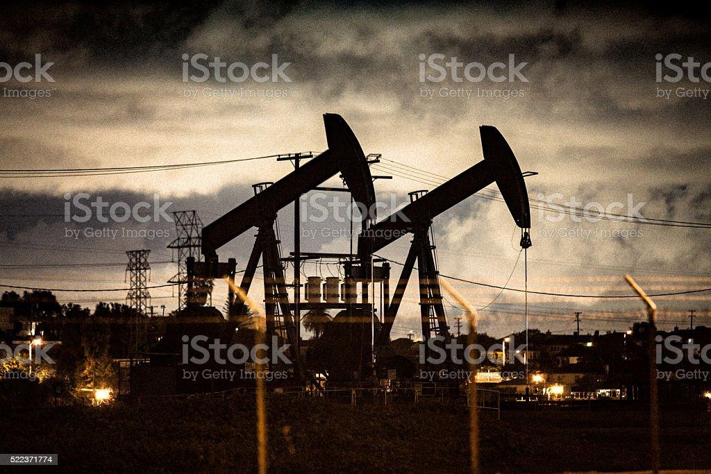Oil Pumpjacks At Night In Los Angeles stock photo