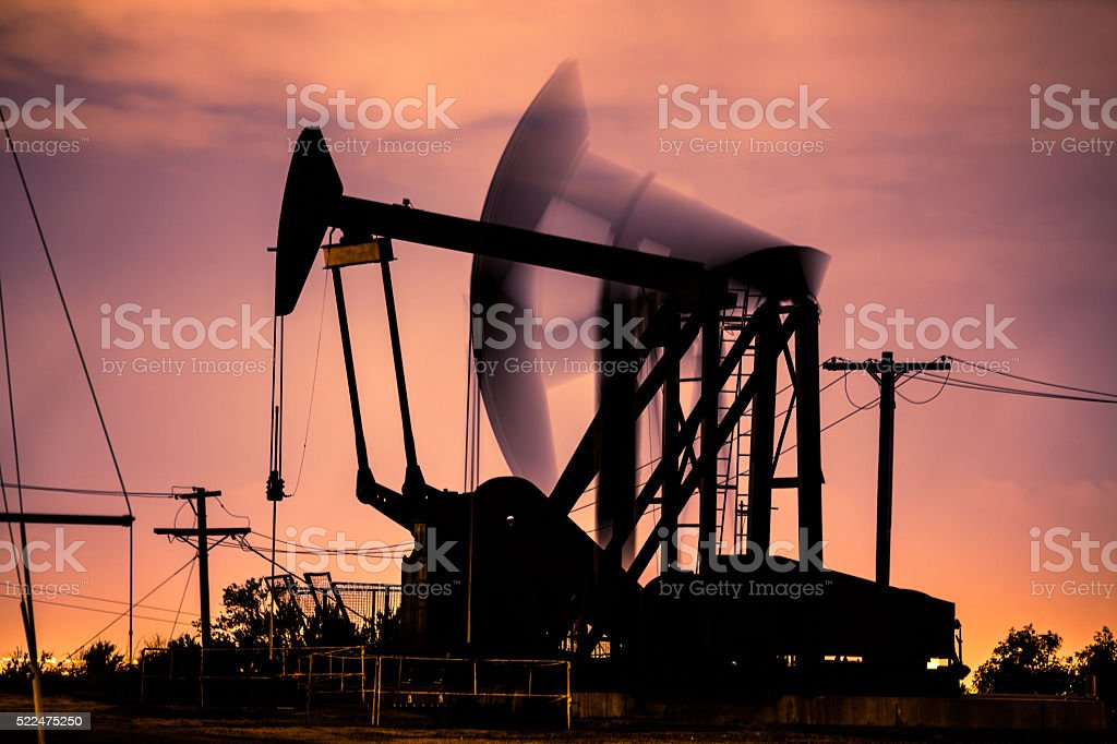 Oil Pumpjacks At Night In Los Angeles royalty-free stock photo