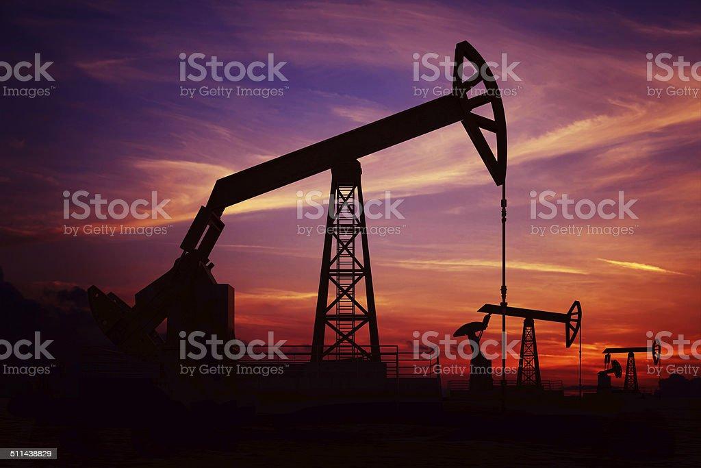 Oil Pumpjacks stock photo