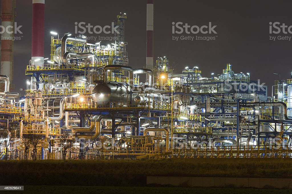 Oil rafinery by night, Poland stock photo