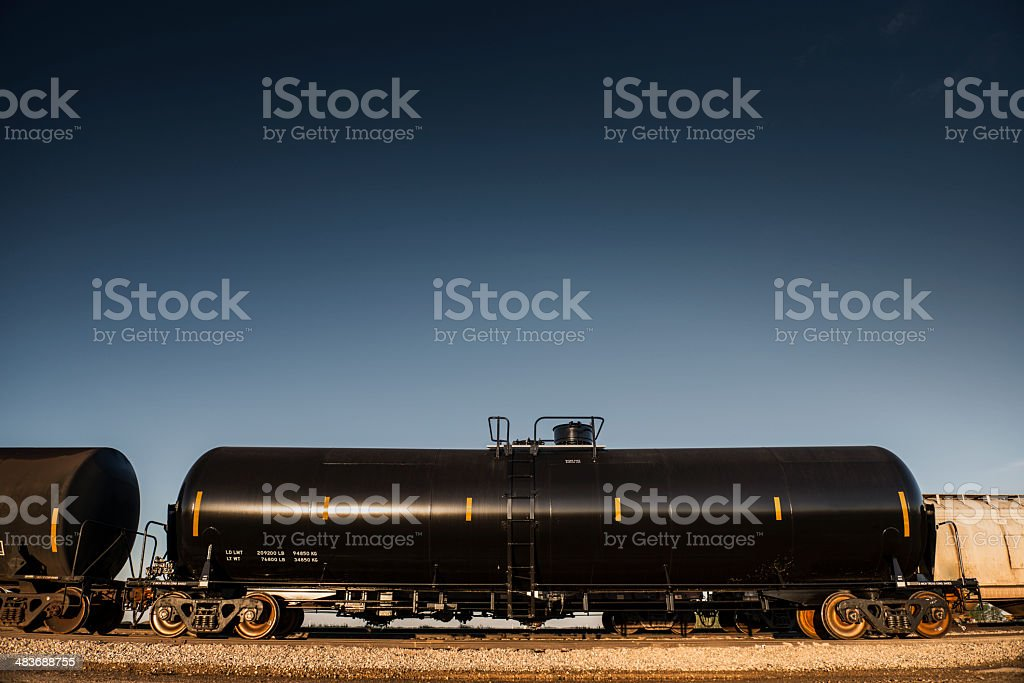 DOT-111 Oil Railroad Car - from side stock photo