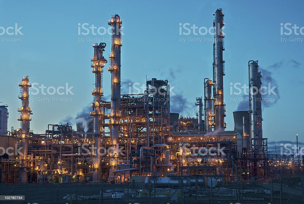 Oil Refiery Lit Up at Night royalty-free stock photo