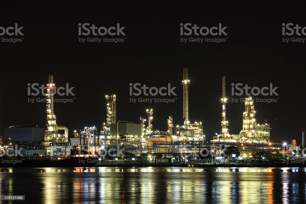 Oil Refineray at night with reflection royalty-free stock photo