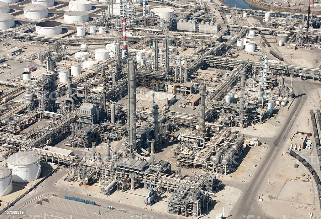Oil Refinery Aerial View royalty-free stock photo