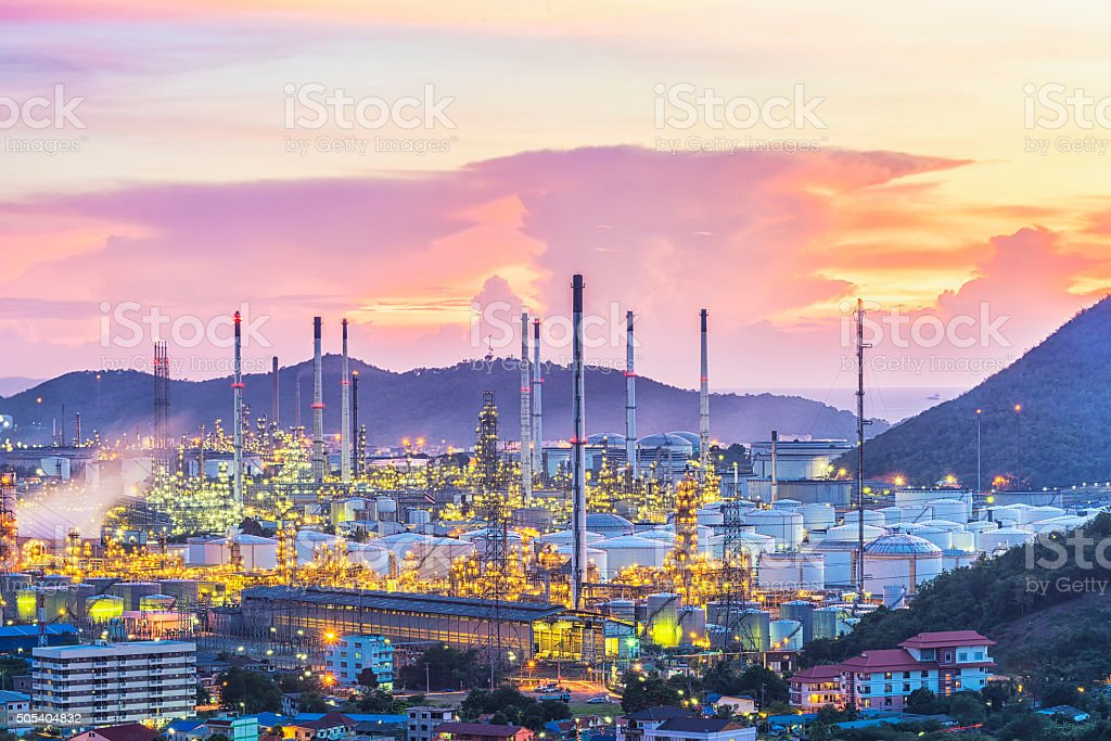 Oil refinery and oil thank with sunset stock photo