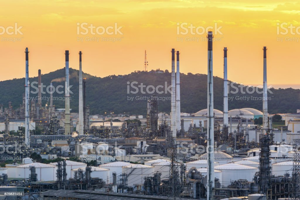 Oil refinery and Petrochemical plant at dusk with twilight stock photo