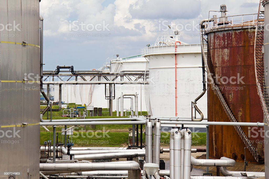 Oil Refinery and Silos stock photo
