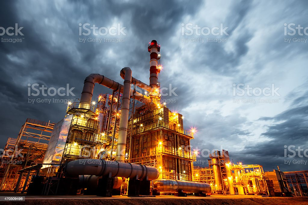 Oil Refinery At evening stock photo