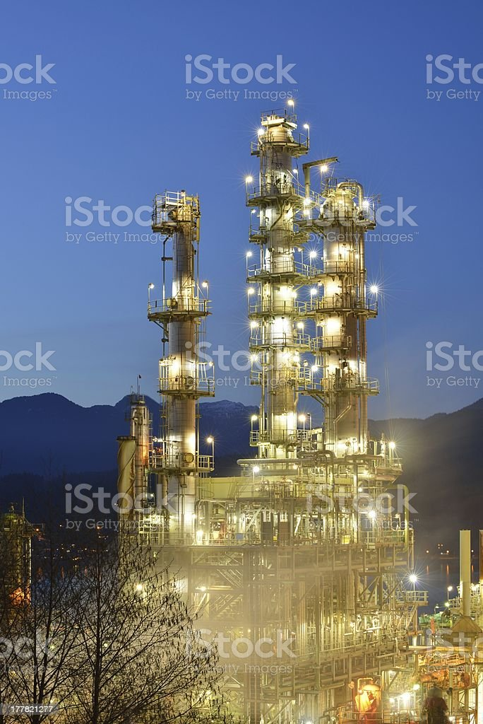 Oil refinery at night, Burnaby royalty-free stock photo