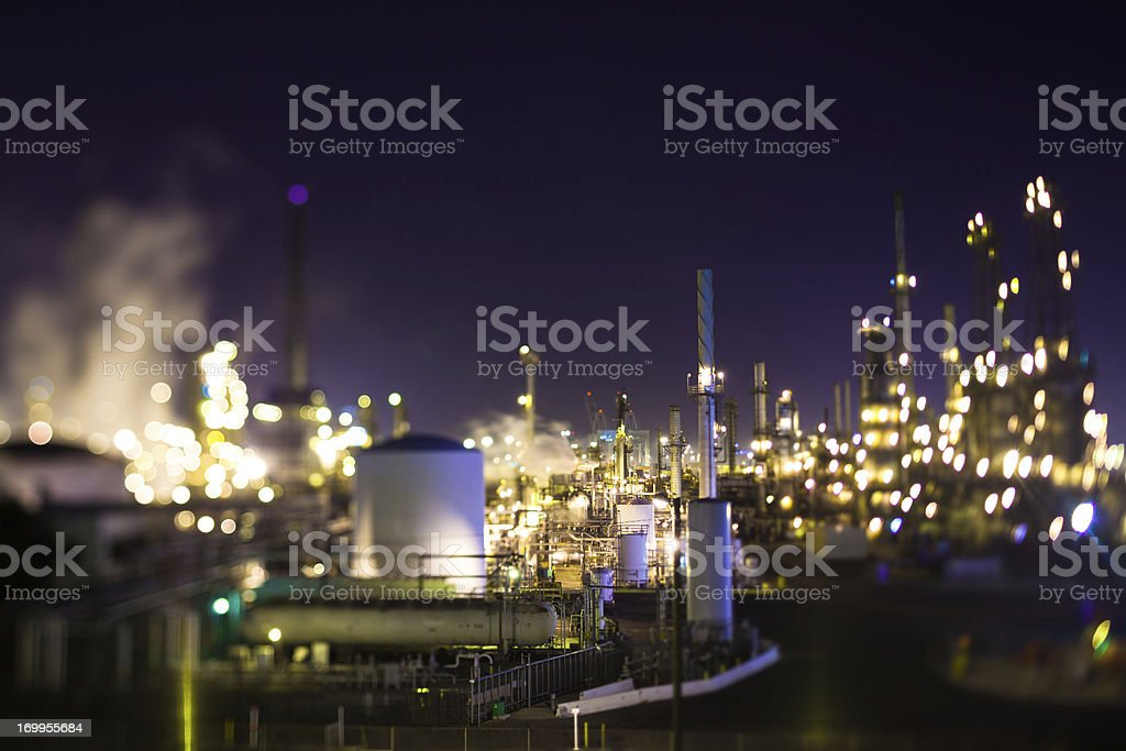 Oil Refinery at Night (Tilt Shift) royalty-free stock photo