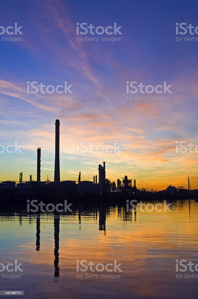 Oil Refinery at sunset royalty-free stock photo