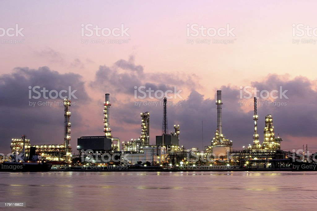Oil refinery at twilight royalty-free stock photo