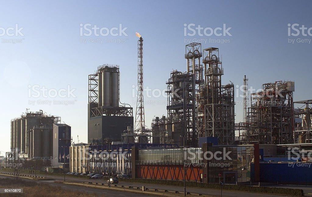 Oil refinery before sunset royalty-free stock photo