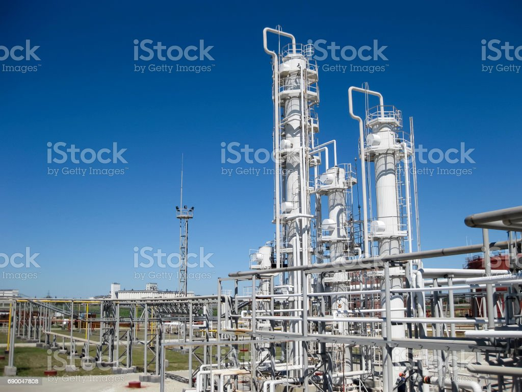 oil refinery. Equipment for primary oil refining stock photo