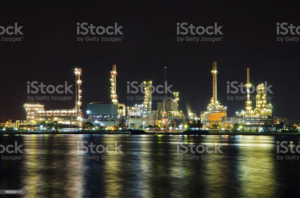 Oil refinery factory at night royalty-free stock photo