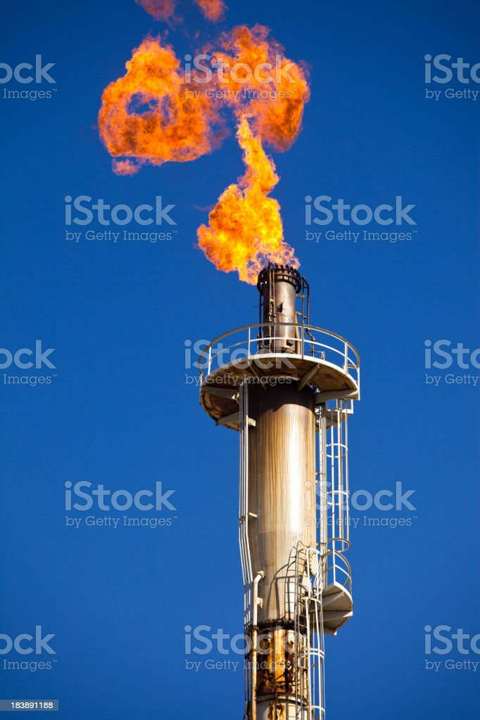 Oil Refinery Flare Stack royalty-free stock photo