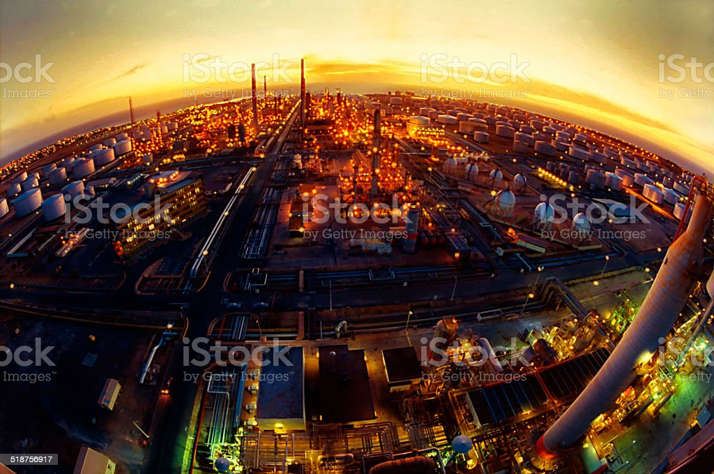 Oil Refinery in a Sunset stock photo