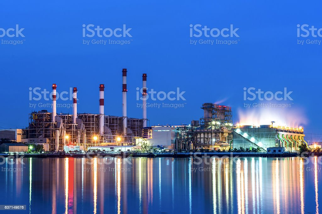 Oil refinery in morning stock photo