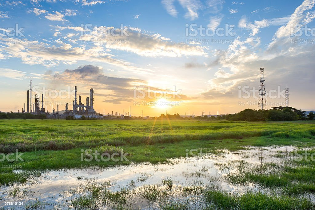 Oil refinery in petrochemical industry stock photo