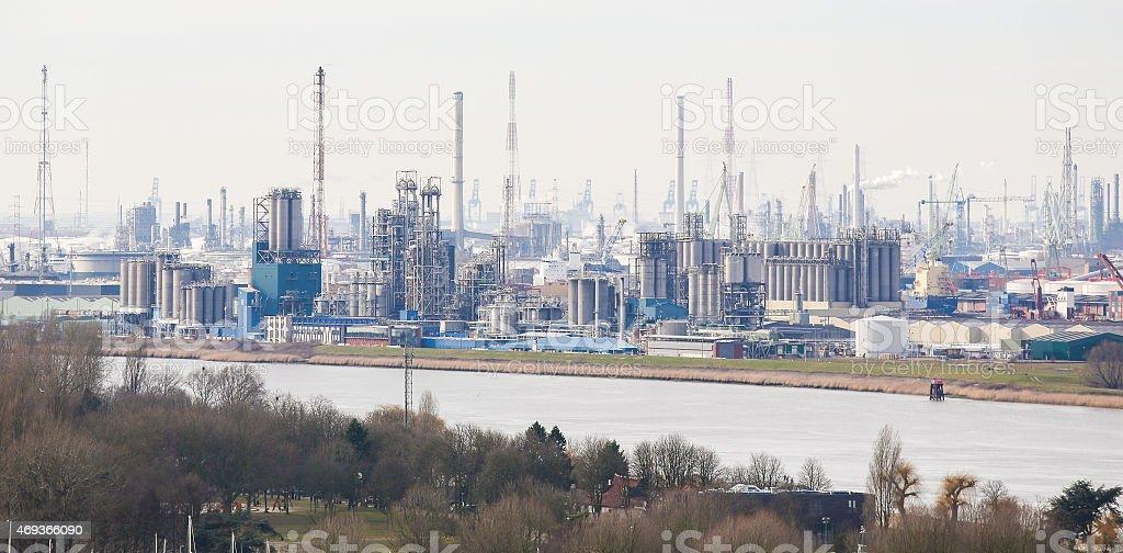 Oil refinery in the port of Antwerp, Belgium stock photo