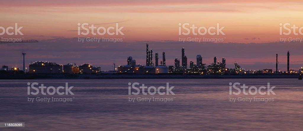 Oil refinery in twilight stock photo
