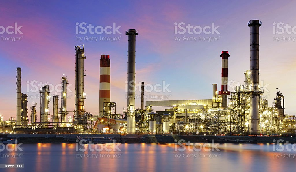 Oil refinery industrial plant at night royalty-free stock photo