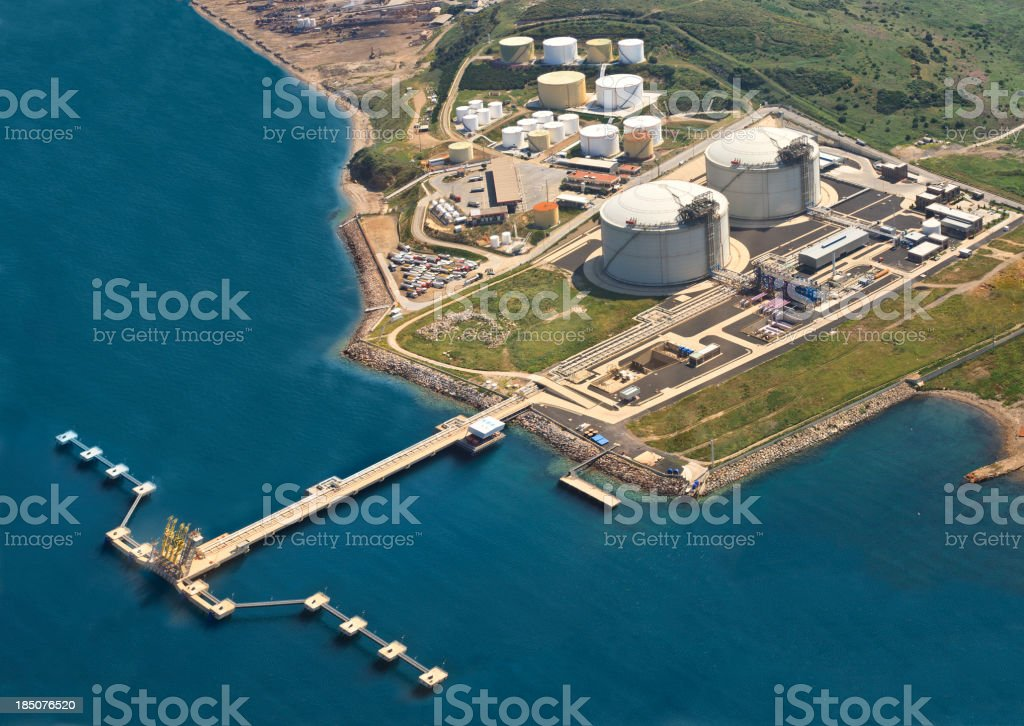 Oil refinery near the sea photographed from the air stock photo