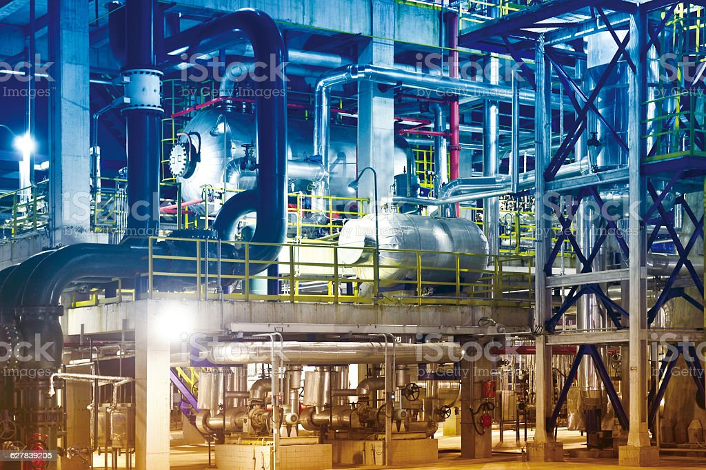 Oil Refinery, Petrochemical Plant Equipment stock photo