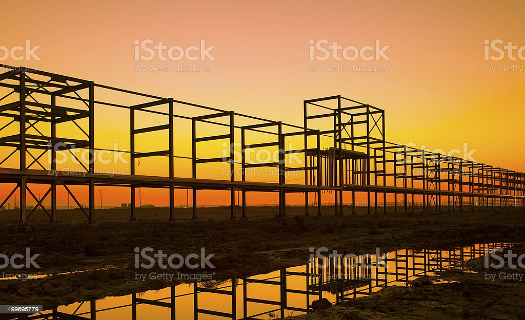 Oil Refinery Piping system stock photo