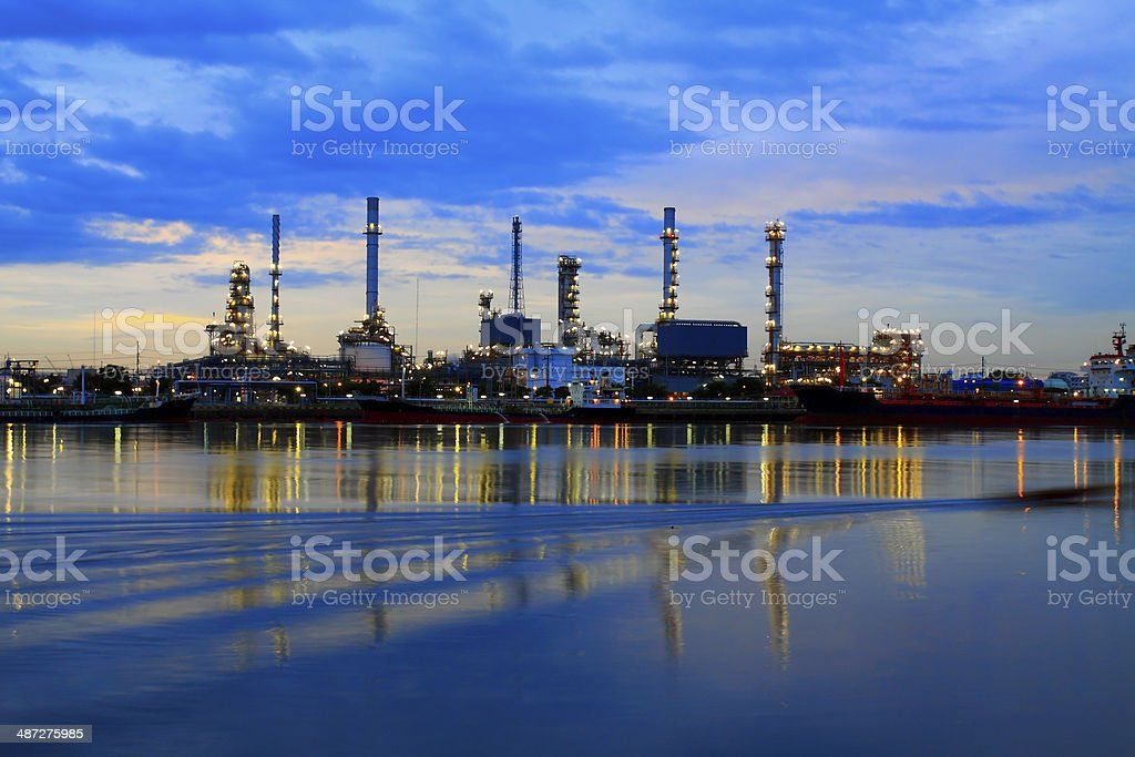 Oil Refinery plant area at twilight morning royalty-free stock photo