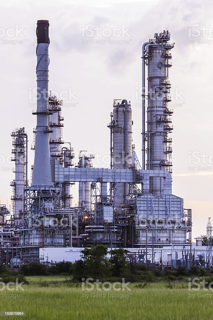 Oil refinery plant at twilight morning royalty-free stock photo