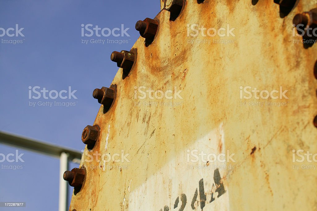 Oil refinery rusty botls stock photo