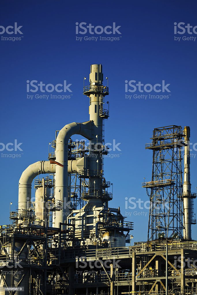 Oil Refinery Smoke Stacks and Distillation Towers royalty-free stock photo