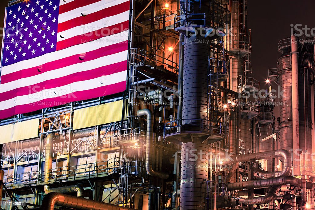 Oil Refinery with American Flag stock photo