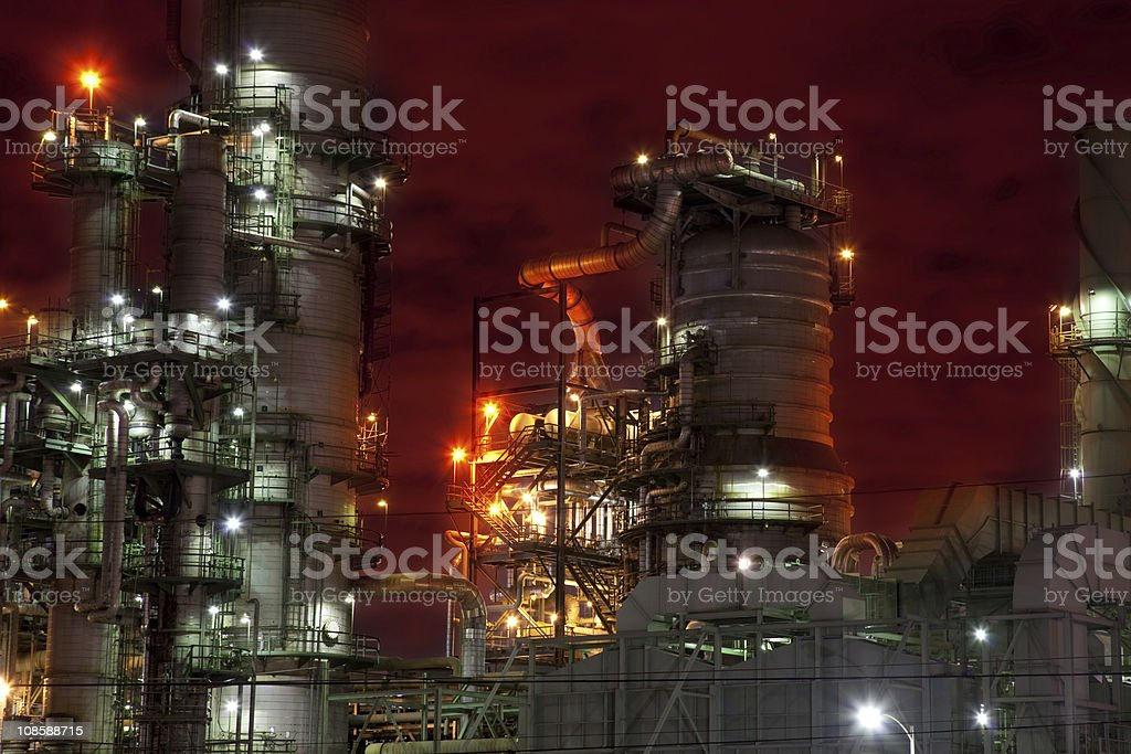 Oil Refinery With Red Sky royalty-free stock photo