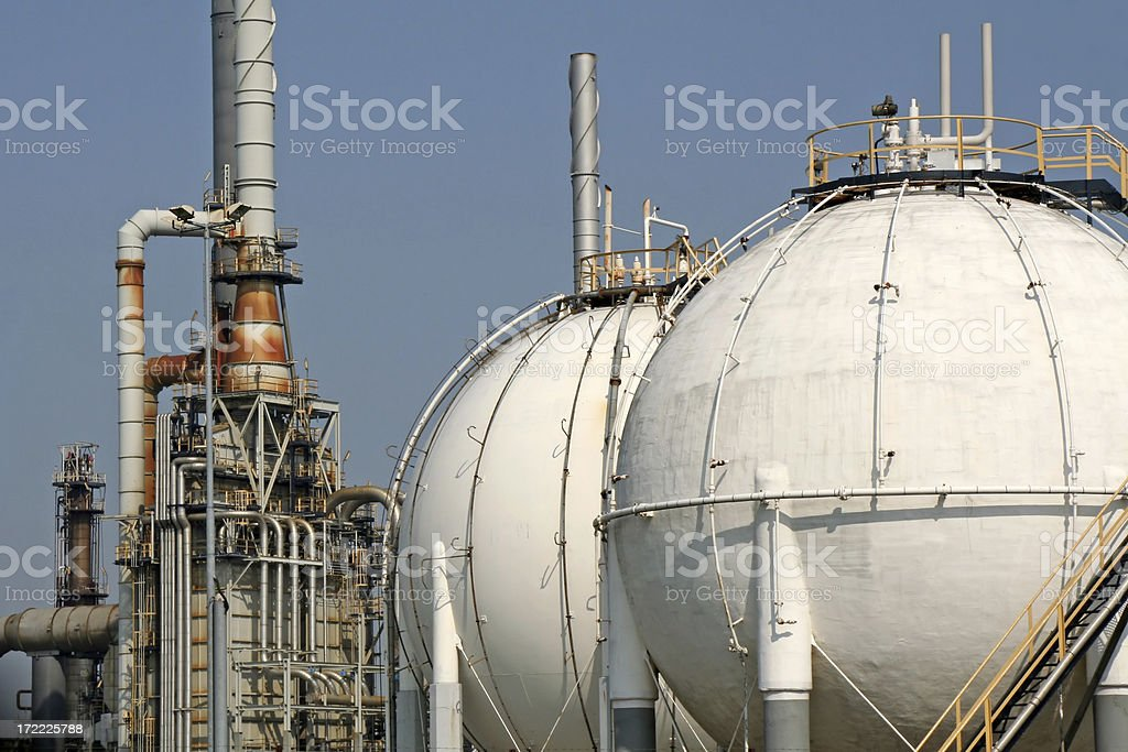 Oil refinery with storage tanks # 1 royalty-free stock photo