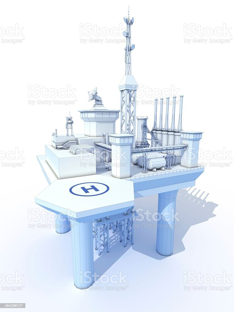 Oil Rig 3D Blueprint royalty-free stock photo