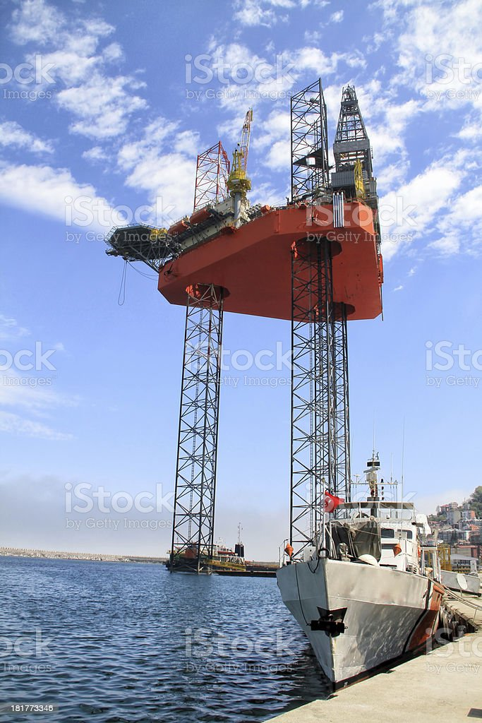 oil rig and coast guard boat royalty-free stock photo