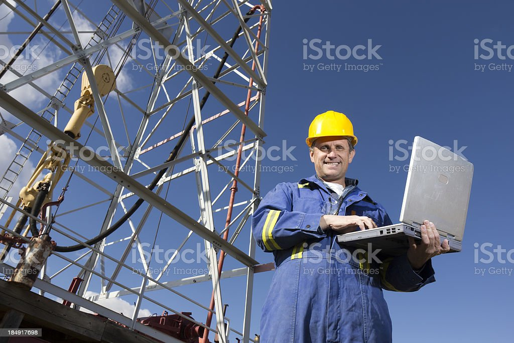 Oil rig and Computer royalty-free stock photo