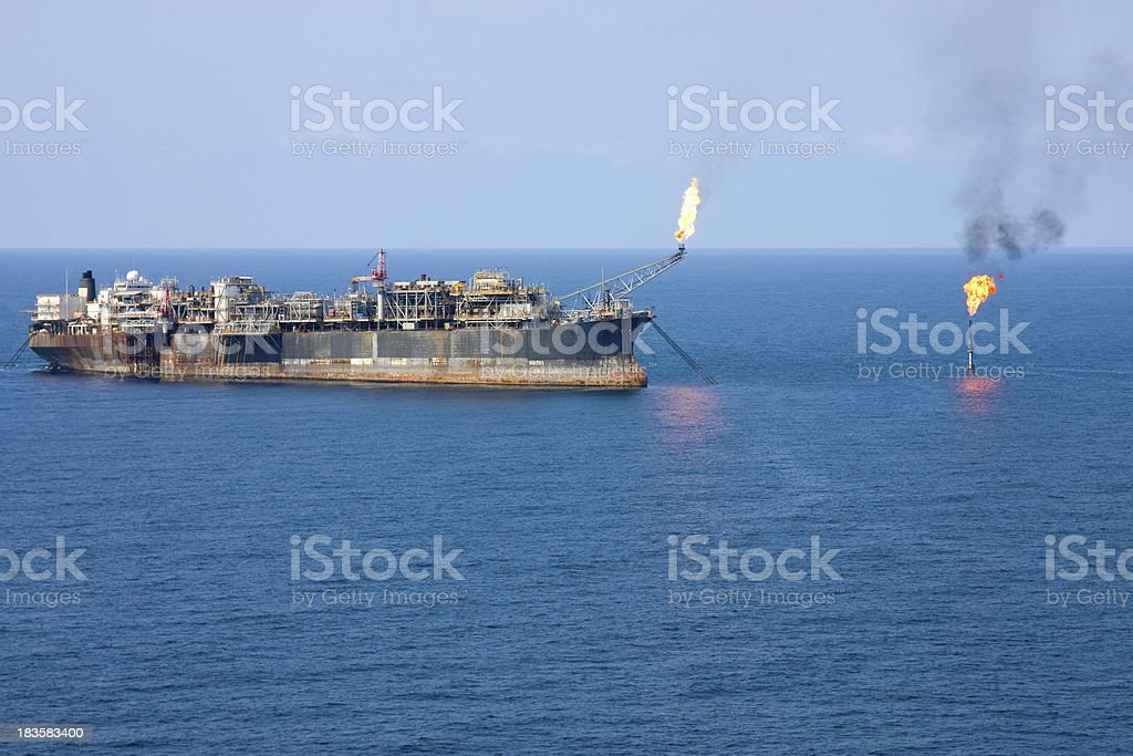 Oil Rig and Flare royalty-free stock photo