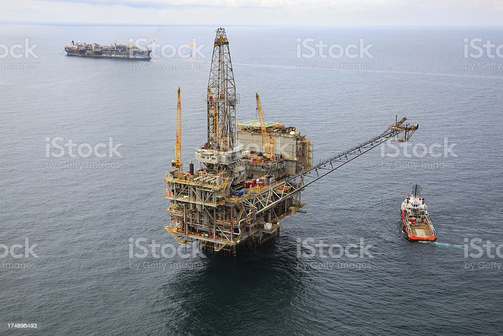 Oil Rig and FPSO royalty-free stock photo